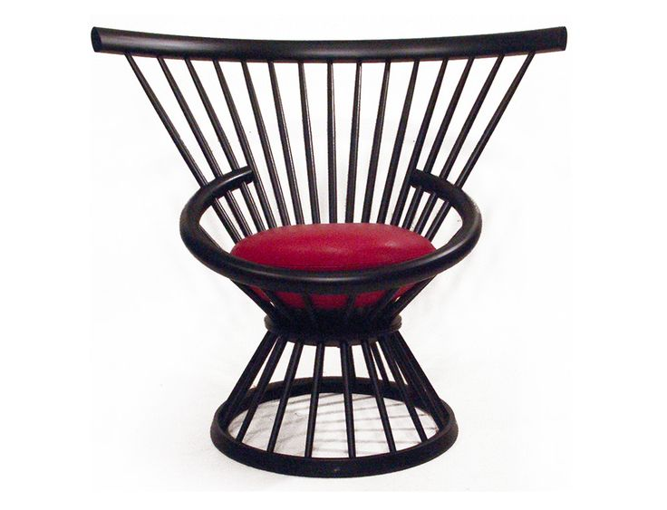 Easy chair Design attributed to Esko Pajamies, Finland. Made by Asko, Finland late 1960´s Blackpainted wood, original red leather.