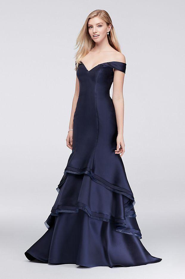 dd91c17a17f9f Off-the-Shoulder Tiered Satin Mermaid Navy Prom Dress from David's Bridal |  Blue prom dress, off the shoulder prom dress, glamorous prom dress