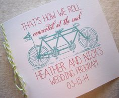 Tandem Bike Wedding Program
