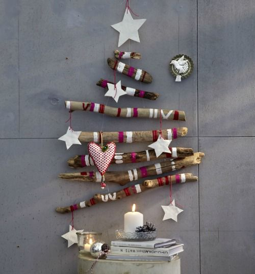 DIY a Alternative Christmas Tree if You are not having much Space for the ordinary kind! See what Sticks with a Colorful Striping and Some Cute Star Ornaments can do! And No Needles to Clean ;-D