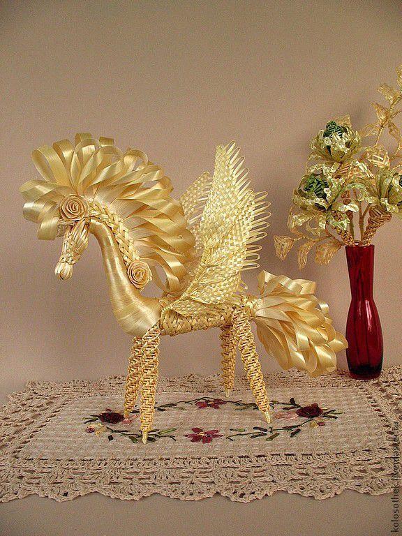 Купить Пегас. Солнечный конь с крыльями. Соломка. - бежевый, плетение из соломки, изделия из соломки