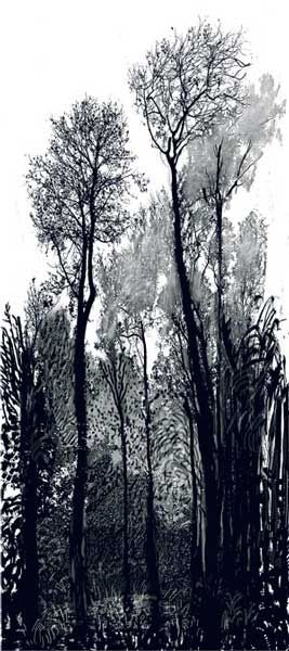 David Hockney Tall Black Trees 2008 inkjet printed computer drawing and photo collage on paper, mounted on dibond 93 1/2 X 41 3/4in. Edition: 7