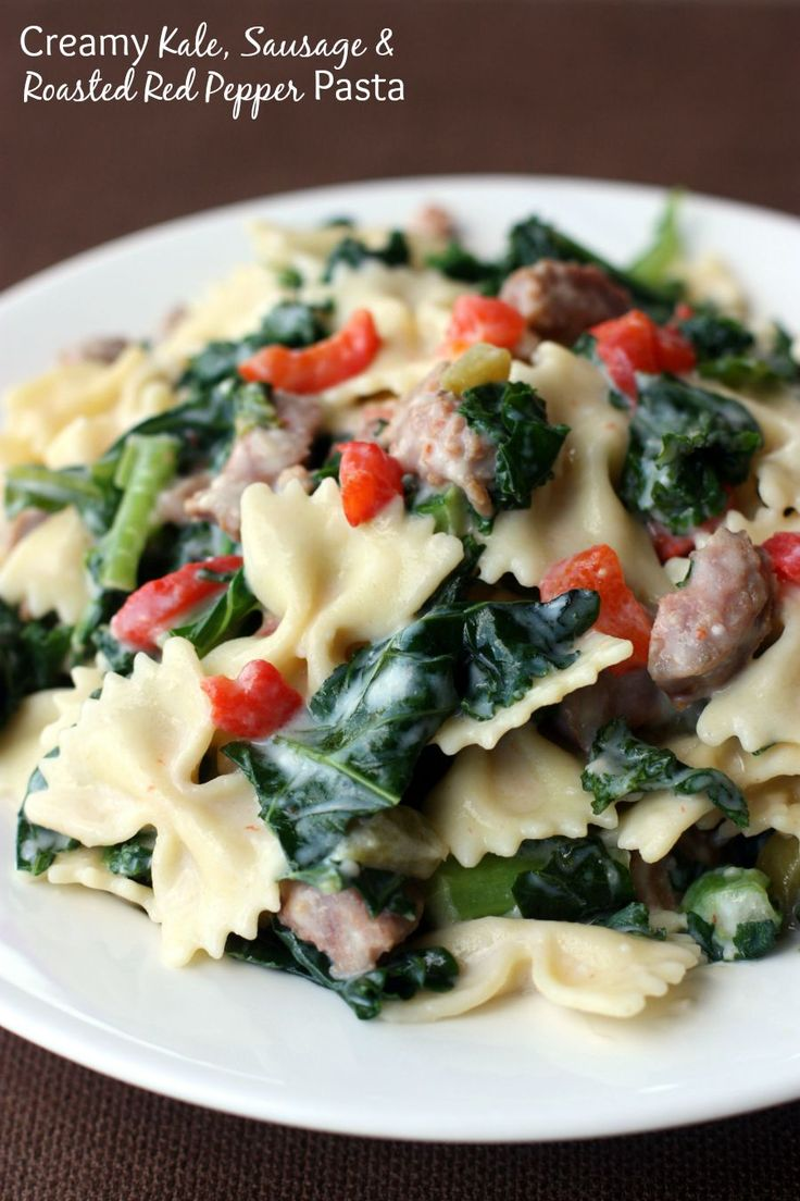 Creamy Kale, Sausage and Roasted Red Pepper Pasta | Recipe