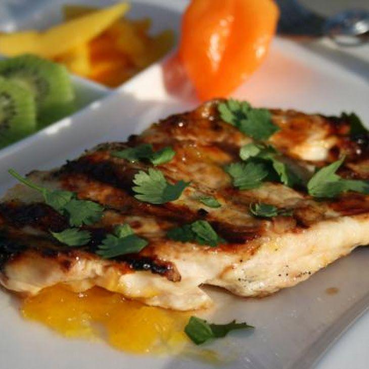 Grilled Chicken With Mango Habanero Glaze Recipe: Delicious Dinners, Habanero Glaze, Grilled Chicken, Mango Habenero Recipes, Habanero Recipes Mango Grilled, Spicy Glaze, Glaze Recipes, Chicken Breast, Habanero Mango