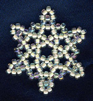 Beaded snowflakes.  Very easy to make. I made a bunch as gifts for Christmas one year, the kids even made some.