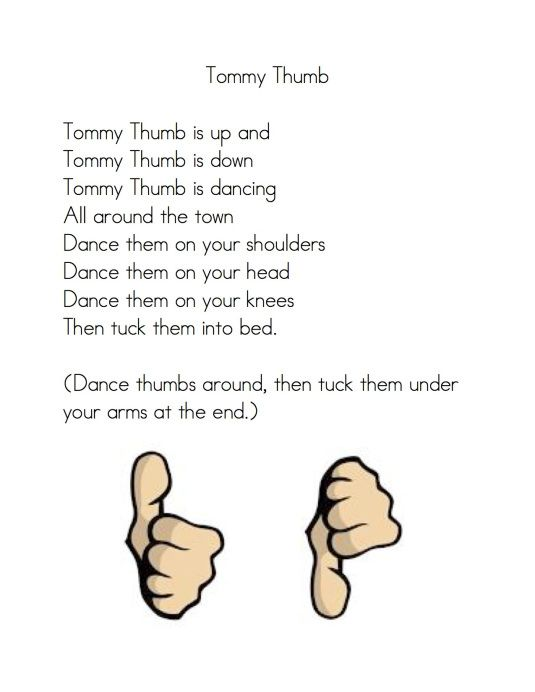 "Fingerplay, ""Tommy Thumb"" (free; from Kindergarten Nana)"