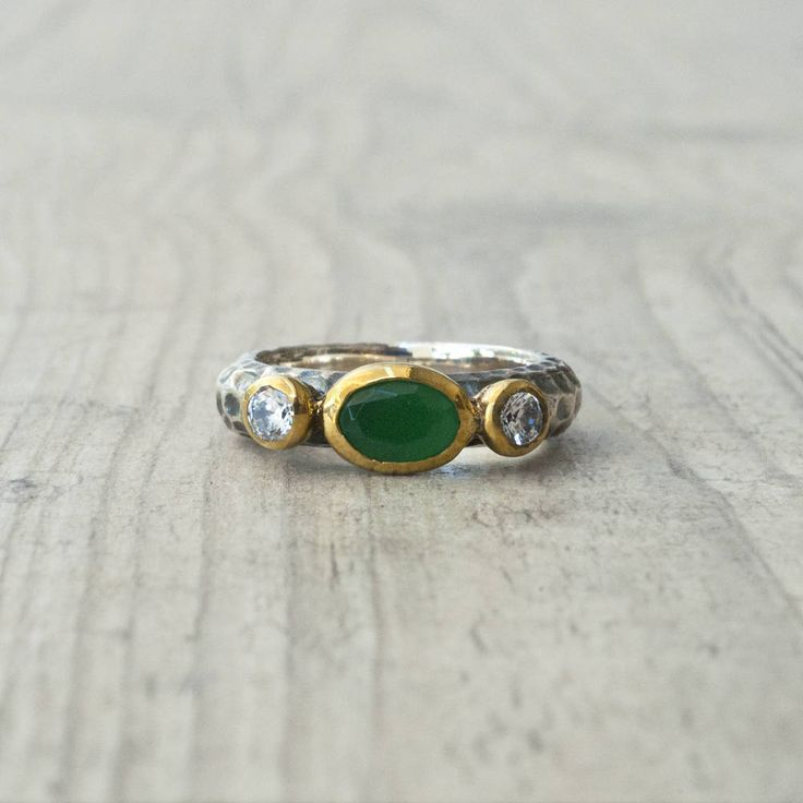 Emerald Ring, Emerald Engagement Ring, Sterling Silver and Gold Emerald Promise Ring, Statement Green Stone Ring, Emerald Jewelry