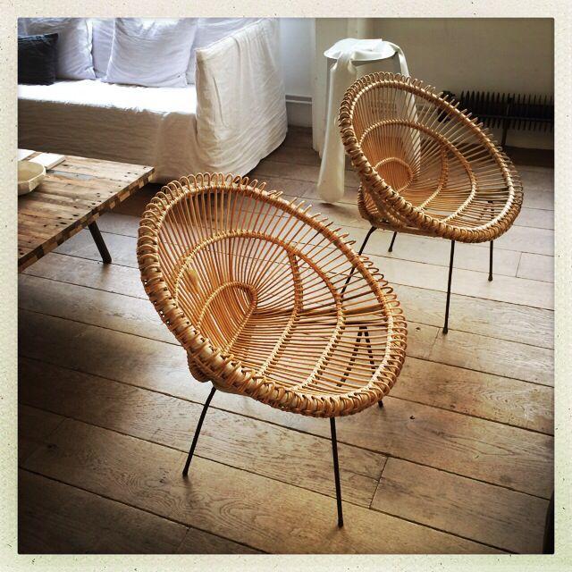 Rattan vintage armchairs - Fauteuils Vintage en rotin