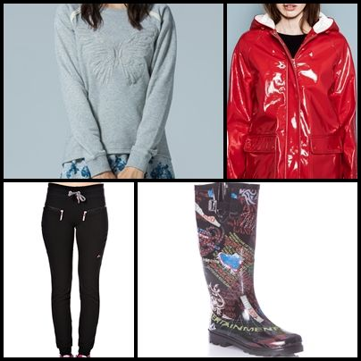 ~ Sweatshirt #SPFWOMAN ~ ~ Red Raincoat #PULL&BEAR ~ ~ #ONLY Play play manon sweat pan from #STYLIGHT ~ ~ #SILVER wellies from #SPRINTER ~