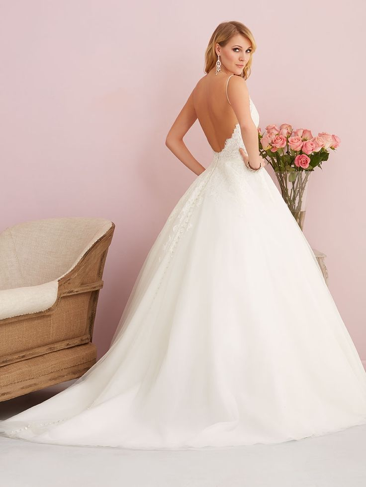 Allure 2761 Thin Straps Gauzy Lace And Ethereal Tulle Compose This Gorgeously Simple Ballgown Rustic Wedding DressesWedding