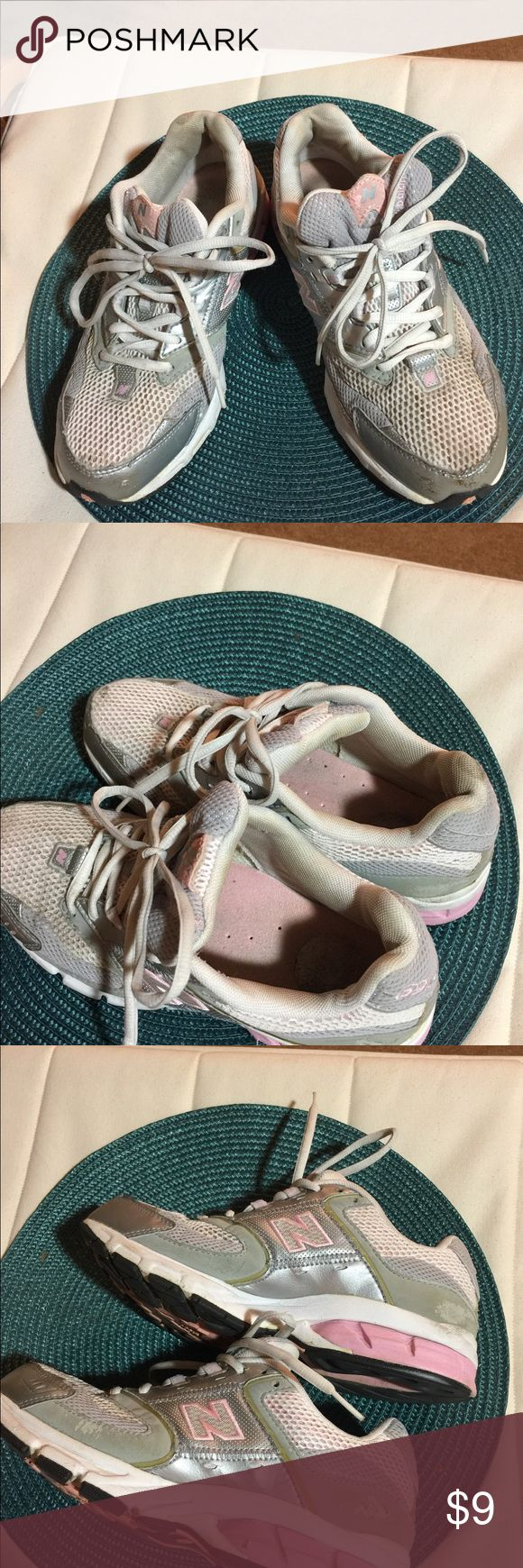 """New Balance Women's Pink/Gray Walking Shoes These size 8 pink and gray walking shoes have been used for walking in the neighborhood. They have some discoloration on inside of tongue but outside of shoe looks good with just slight scuff on toes. Soles really do not show any wear. I am selling cheap as a hey may just need a good washing and I do not have the capability to do that. Therefore you will buy """"as is"""" and get a good deal if you wear an 8! New Balance Shoes Athletic Shoes"""