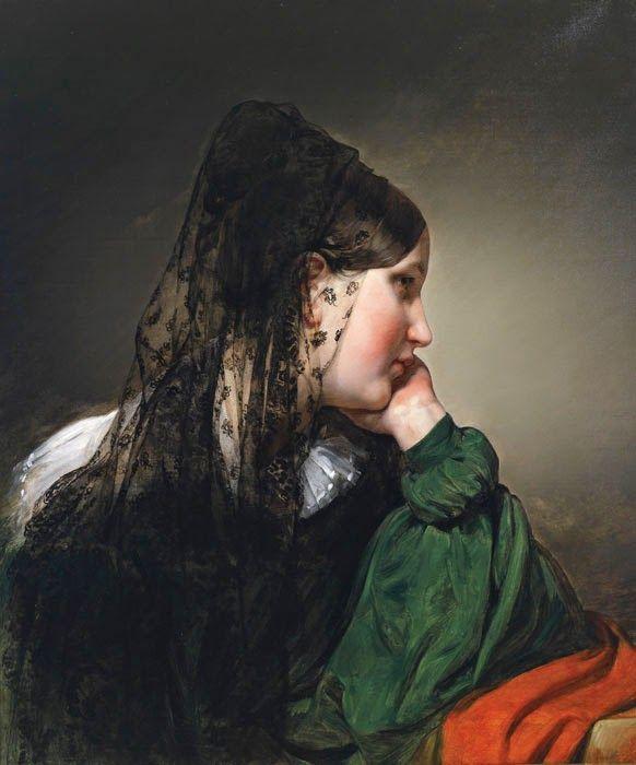 Siyah Eşarplı Kadın,   Friedrich von Amerling (1803 – 1887) Akademik Friedrich von Amerling ( 1803 Spittelberg – 1887 Viyana )   Avusturyalı ressam.