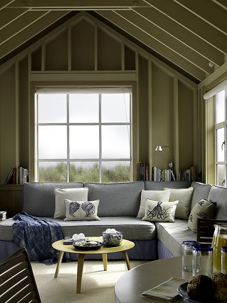 Beach house design full of soft blues & comfy couches. // Stinson Beach  House by Butler Armsden Architects
