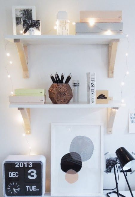 Fairy Lights around my office shelves