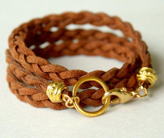 CUSTOM Design your TIBETAN Style Braided Triple Wrap Bracelet - Microfiber Faux Suede Cord - GOLD Clasp - Choice Color / Size - Usa - 717