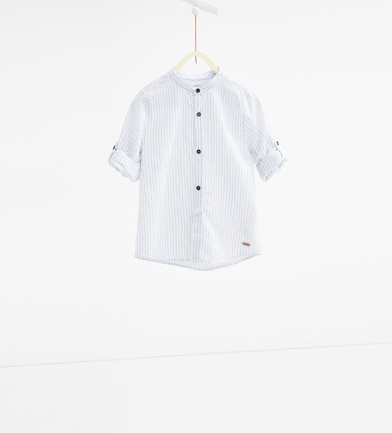 Image 1 of Micro-striped Mandarin collar shirt from Zara