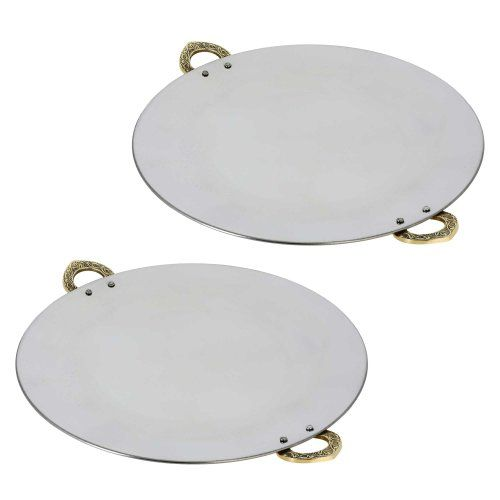 Set of Two Tawa Serveware Utensil ,Tray and Platter for Indian Dishes 12 Inches ShalinIndia http://www.amazon.in/dp/B00JE34RJY/ref=cm_sw_r_pi_dp_vDxaub1FSV3C0