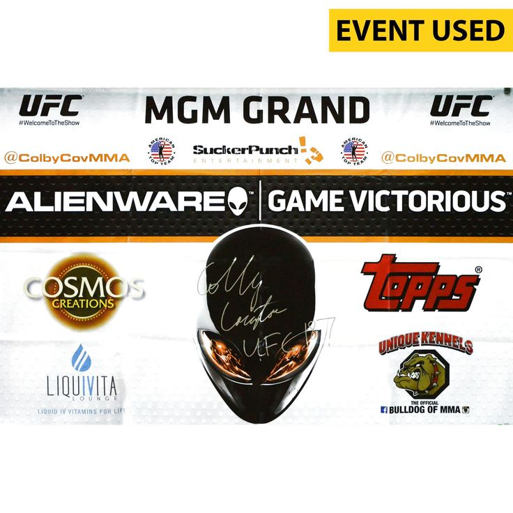 Colby Covington Ultimate Fighting Championship Fanatics Authentic Autographed UFC 187 Event-Used Sponsor Banner with UFC 187 Inscription - Defeated Mike Pyle via Unanimous Decision - $319.99