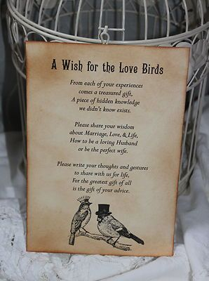 Wedding Wishes poem for birdcage..maybe have pen and paper for folks to put #wedding wishes in a pretty bird cage