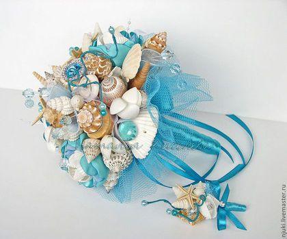 Свадебные цветы ручной работы. Ярмарка Мастеров - ручная работа. Купить Букет в морском стиле Бирюзовая Рапсодия. Handmade. Бирюзовый