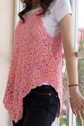 The pattern image is only for front of your garment. You will need 46 flowers to complete this garment. Sew or crochet all your flowers to finish the garment. Crochet all around a small border.