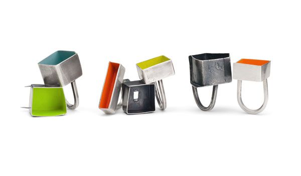 Tracey Falvey - Rings in recycled silver and paint. Photo by Paul Mounsey - Kath Libbert Jewellery Gallery - FRAGMENTS