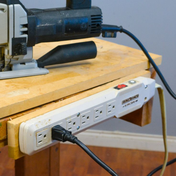 TIP: Power-bars So much of our woodworking depends on electricity now, so why not affix a power-bar to the workbench! #woodworkweb #woodworking