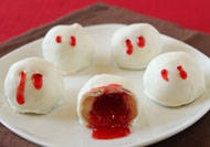 """Vampire Bite Truffles have bloody vampire fang marks on the outside and ooze red """"blood"""" when you bite into them!"""