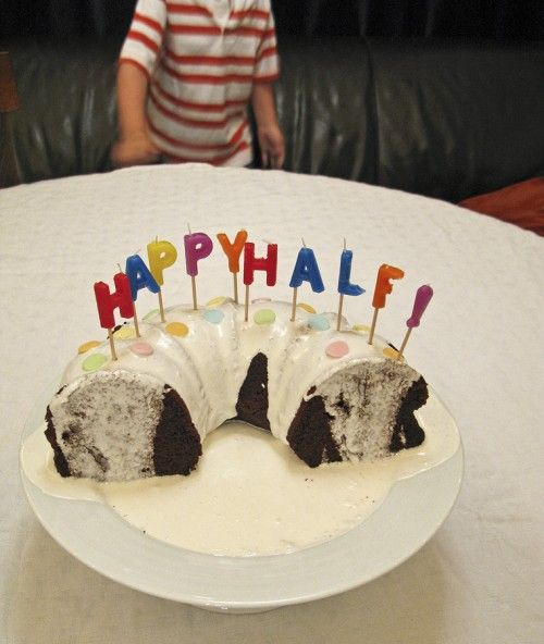 Half Birthday Cake: cute idea for kids who get gipped by a December birthday :)