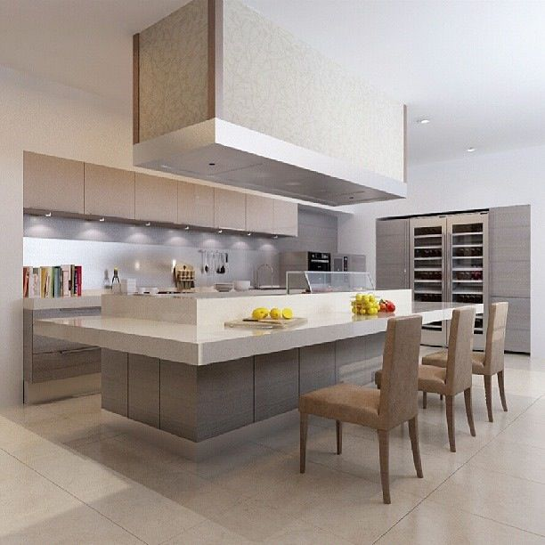 Kitchens From German Maker Poggenpohl: This Warm, Cozy Poggenpohl Uses Different Tomes And