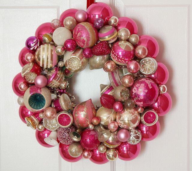 Vintage Ornament Wreath - Suzy Spence: Christmas Wreaths, Vintage Christmas Ball, Pink Christmas, Pink Vintage, Ornaments Christmas, Vintage Ornaments, Shiny Brite, Christmas Decor, Ornaments Wreaths