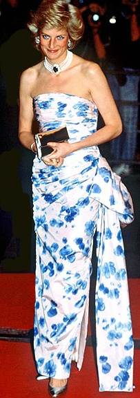At a1989 movie premiere. Catherine Walker strapless pleated floral dress.