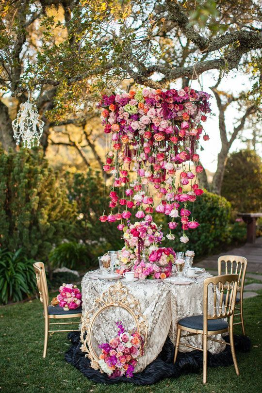 Dramatic floral chandelier