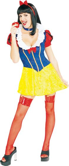 Sexy Snow White - Calgary, Alberta. This Snow White costume is perfect for Fairy Tale theme parties, Princess Parties or as a sexy Halloween costume.  This is the Sexy Snow White costume by the Secret Wishes line. The boys will be lining up to be your dwarves this Halloween.  This Snow White costume features a sassy dress with a bright yellow skirt portion made of a velvety material.