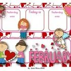February calendar flash cards English & Spanish...