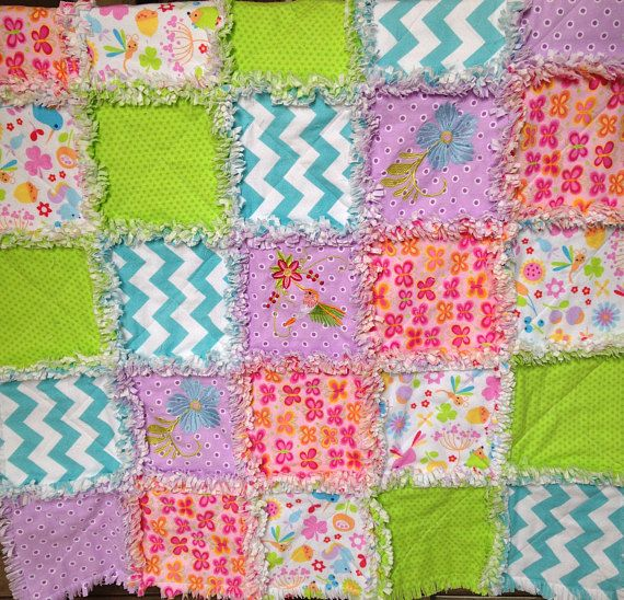 Rag quilt baby flannel rag quilt butterflies embroidered