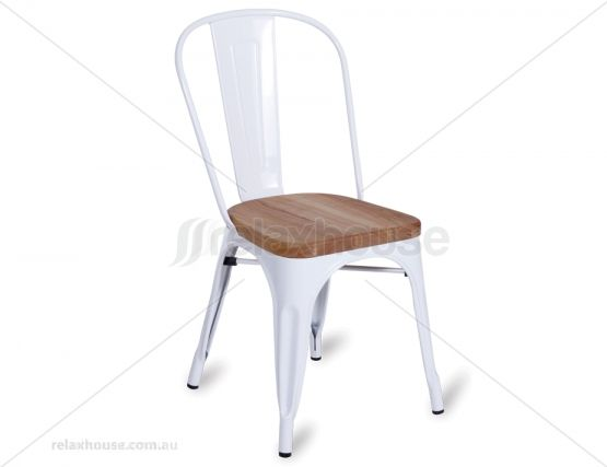 Replica Tolix Chair with Teak Timber Seat - White