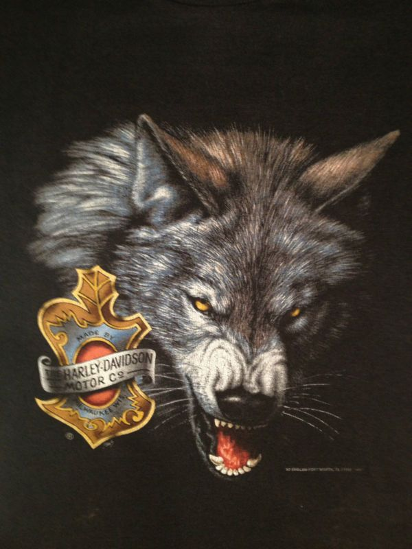 Motorcycle Helmet ?harley Davidson Milwaukee ?mens T Shirt?wolf Graphic?size