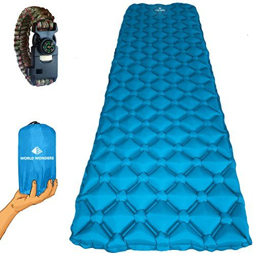 World Wonders Ultralight Inflatable Camping Sleeping Pad - Portable for Backpacking, Hiking, and Travel - Universal, Comfortable and Durable - Included with Emergency Paracord Bracelet Survival Kit. For product & price info go to:  https://all4hiking.com/products/world-wonders-ultralight-inflatable-camping-sleeping-pad-portable-for-backpacking-hiking-and-travel-universal-comfortable-and-durable-included-with-emergency-paracord-bracelet-survival-kit/