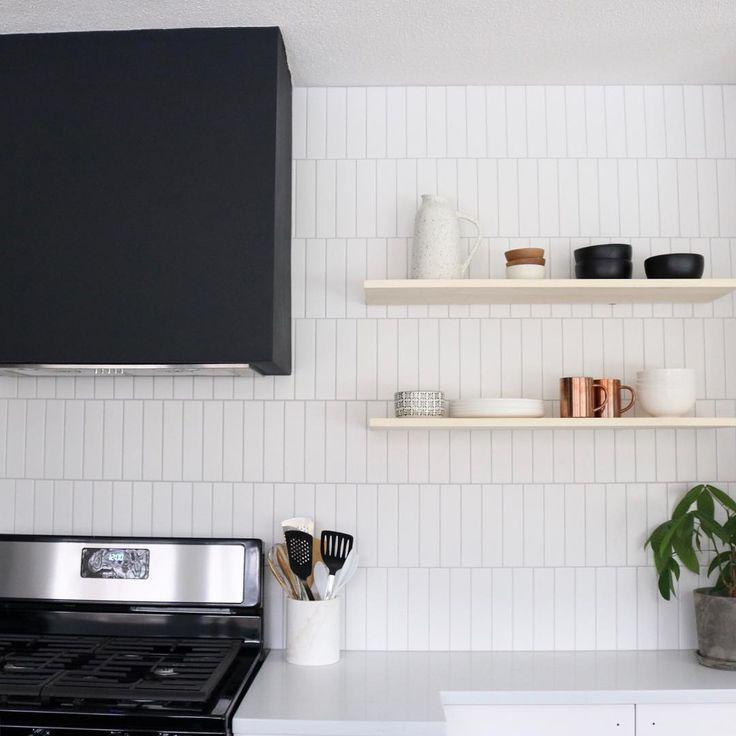 White Subway Tile Kitchen Backsplash With Floating Shelves