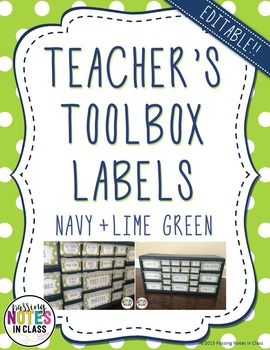Navy Blue and Lime Green Teacher Toolbox labels on TeacherspayTeachers! Great for organizing in the classroom.