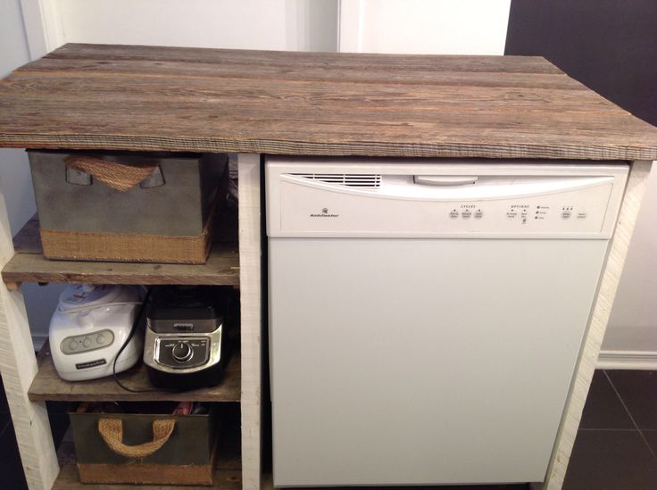 Kitchen island from recycled wood and barn wood - Au Chalet Vintage