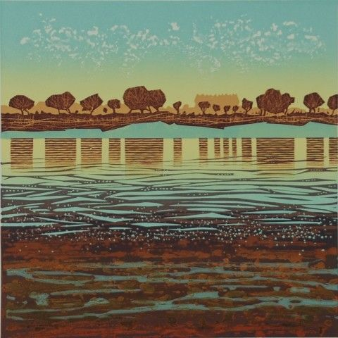 """""""Estuary mud"""" linocut etch by Mark Pearce, edition of 20, 30 x 30cm, £325 (framed) http://www.themeregallery.co.uk/mark-pearce/4579448041"""