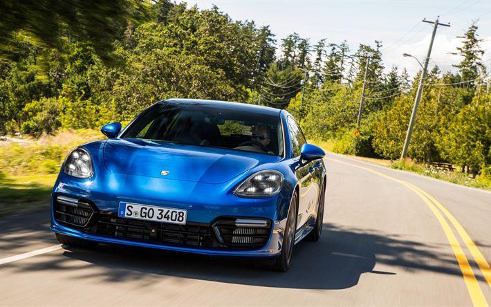 Lataa kuva Porsche Panamera, Turbo Sport Matkailu, 2017, Sininen Panamera, saksan autoja, Porsche