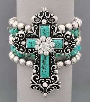 Cross Rhinestone Turquoise Stretch Bracelet