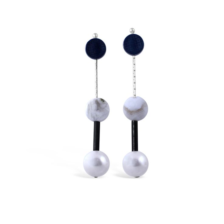 Dot Pearl Drop Earrings #pearl #earrings #dots #oxidisedsilver #summerfashion #jewellery