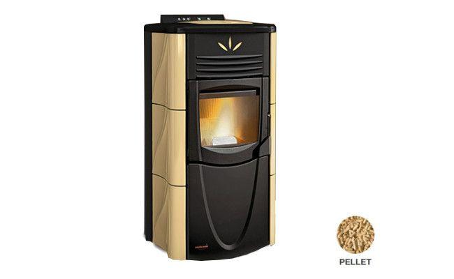 Stufa a pellet con rivestimento in acciaio verniciato e top in maiolica Ventilazione forzata Cassetto cenere estraibile Focolare in ghisa estraibile Scambiatore di calore con sistema di pulizia manuale