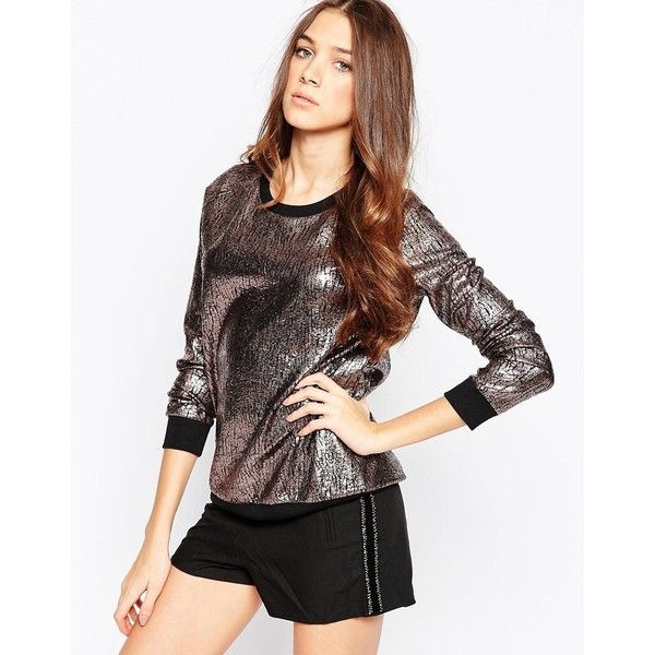 Madam Rage Metallic Jumper (€22) ❤ liked on Polyvore featuring tops, sweaters, gold, round neck top, jumpers sweaters, metallic tops, jumper top and white top