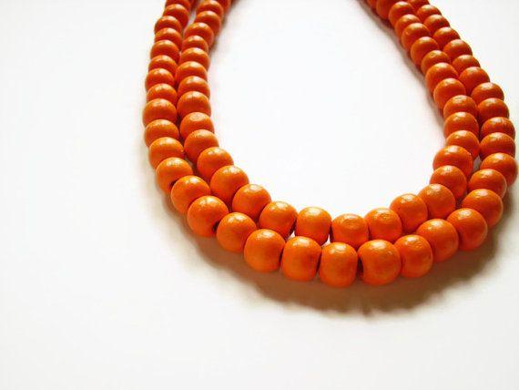 Orange necklace wooden by AellaJewelry, $22.00