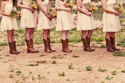 : Cowgirl Boots, Bride Maids, Country Girl, Wedding Ideas, Bridesmaid Dresses, Country Wedding, Bridemaid, Cowboys Boots, The Dresses